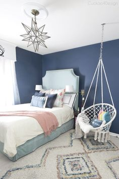 Dark Blue Teenage Bedroom