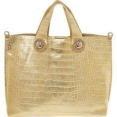 bf142ce3ec Gold Tone Reptile Print Tote Bag Versace Jeans Designer Shoulder Bags