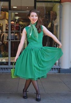 Pretty Green Cocktail Dress by Blanes of London