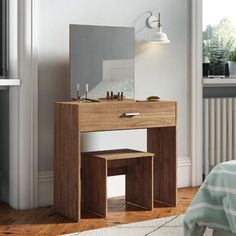 17 Stories Create a dedicated vanity space in your bedroom with this attractive Cogen Dressing Table Set with Mirror from the Cogen collection. Finished off with a sleek rectangular metal handle. Malm Dressing Table, Dressing Table Design, Dressing Table With Stool, Wooden Dining Room Chairs, Kitchen Chairs, Sweet Home, Cool Furniture, Storage Spaces, Quartos