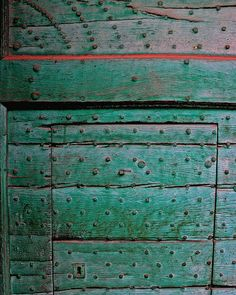door detail in Fontanellato, old village in Province of Parma, Italy