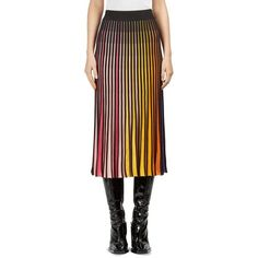 KENZO Striped Rib-Knit Midi Skirt ($395) ❤ liked on Polyvore featuring skirts, long striped skirt, long flare skirt, long flared skirt, stripe midi skirt and pull on skirts