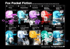 Book jacket set for Fox Spirit // Fox Pocket Anthologies, science fiction & fantasy, flash fiction series.
