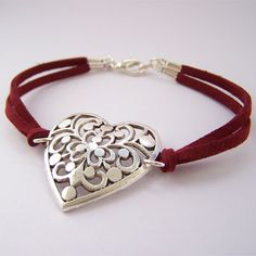 Red suede bracelet by Birdcage Creative, via Flickr