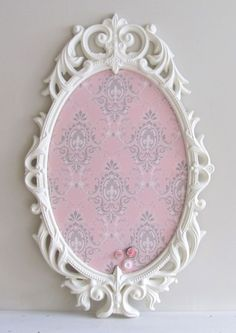 SHABBY CHIC NURSERY Magnet Board Pink Grey Cream Memory Board Hand Painted Vintage Picture Frame Christmas Gift for Baby - Ready to Ship