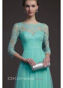 2014 Mint 3/4 Length Sleeves Formal Evening Dresses Embellished With Applique