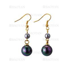 pendientes de perla especial azul tinto en cobre dorado -BREGG117455