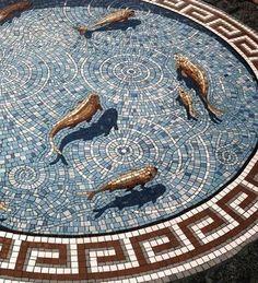 Floor mosaic, fish pond