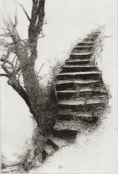 Image search result for kathleen caddick - Marcus Jackson - Art Drawings Sketches, Pencil Drawings, Wow Art, Landscape Drawings, Art Graphique, Tree Art, Stairways, Painting & Drawing, Printmaking