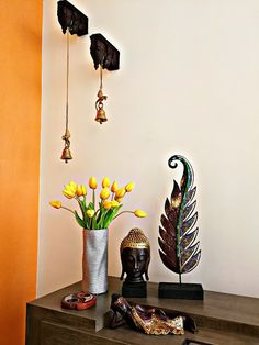 SAJAVAT: Home tour from Penang, Malaysia Indian Room Decor, Ethnic Home Decor, Pooja Room Design, Home Room Design, Buddha Home Decor, Puja Room, Diy Wall Art, Diy Art, Wall Decor