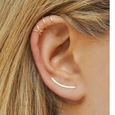 Ear Climber Earring Set. Gold.