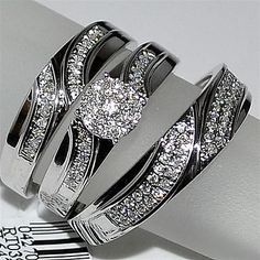 Trio Wedding Set Three piece Mens Band and Womens bridal rings 10K White gold