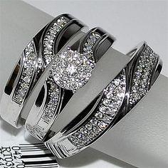 Trio Wedding Set Three piece Mens Band and Womens bridal rings 10K White gold