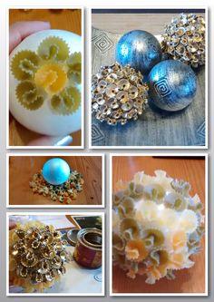 Bolas decorativas de navidad realizadas con margaritas de pasta