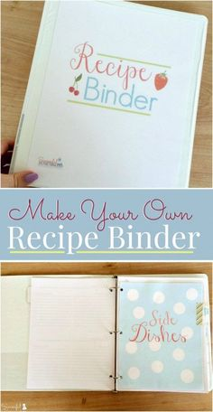 Make Your Own Recipe Binder with this free 15 page printable pack. Organize all of your recipes and have a place to keep those treasured handwritten recipes in one place. This is a great project to create with your teen! Make Your Own Cookbook, Making A Cookbook, How To Make Your Own Recipe, Homemade Cookbook, Create A Cookbook, Kids Cookbook, Create A Recipe, Cookbook Ideas, Plenty Cookbook