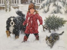 Robert Duncan Open Edition Canvas Gallery Direct Art is your Fine Art Gallery for Robert Duncan Open Edition Canvas Questions? Please call - Robert Duncan Gallery Winter Pictures, Christmas Pictures, Christmas Scenes, Christmas Cards, Christmas Animals, Merry Christmas, Robert Duncan Art, Illustrations, Illustration Art