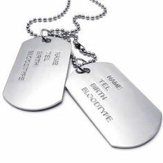 KONOV Bijoux Pendentif Collier Homme - Chaîne 68 cm - Plaque militaire Nom Prénom - Dog Tag - Style Militaire Armée - pour Homme et Femme - Couleur Argent - Avec Sac Cadeau -