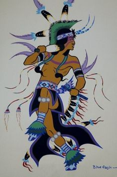 Blue dancer by Acee Blue Eagle (17 August 1907 – 18 June 1959), also named Alex C. McIntosh, Chebon Ahbulah (Laughing Boy), and Lumhee Holot-Tee (Blue Eagle), was a Muscogee Creek-Pawnee-Wichita artist, educator, dancer, and flute player.