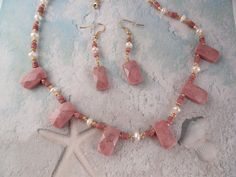 Rhodonite Jewelry Set with Fresh Water Pearls by ARexrodeCreations