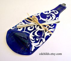 Flattened Eco Friendly Blue Wine Bottle Cheese Tray by CDChilds, $20.00