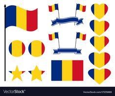 Romania flag set collection of symbols heart vector image on VectorStock 1 Decembrie, Drag, Web Design, Graphic Design, Moldova, Lace Collar, Single Image, My Favorite Color, Romania