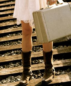 'Freedom'    Engagement Photo  cowboy boots, lace, railroad tracks and a vintage suitcase