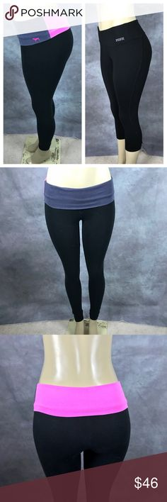 PINK Victoria's Secret leggings lot Sz XS 1- Pink/Gray Waist Blend is Full Length Yoga Leggings , 2- Black Cropped Capri Fitness Leggings - they have hole on the seem See picture please PINK Victoria's Secret Pants Leggings