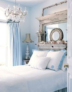 Chandelier....headboard....love  (stacyclaireboyd.blogspot.com)