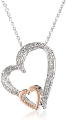 "10K Rose Gold and Silver Diamond Double Open Heart Pendant Necklace (1/10 cttw, I-J Color, I3 Clarity), 18"" Amazon Curated Collection,http://www.amazon.com/dp/B004K1ECFO/ref=cm_sw_r_pi_dp_aHR.rb1KJPR69H42"
