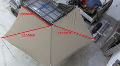 The size of foxwing awning