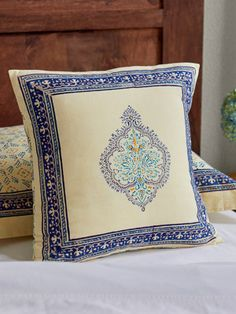 A truly affordable indulgence, go ahead and pick a couple of exotic cushion covers in different patterns to revive your throw pillows and cushions and give your room an effortless makeover. Blue Throws, Blue Throw Pillows, Peacock Curtains, Moroccan Print, Dose Of Colors, Pillow Shams, Cover Pillow, Decorative Cushions, Vintage Bohemian