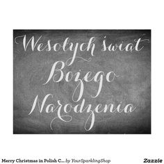 Merry Christmas in Polish Chalkboard Typography Card