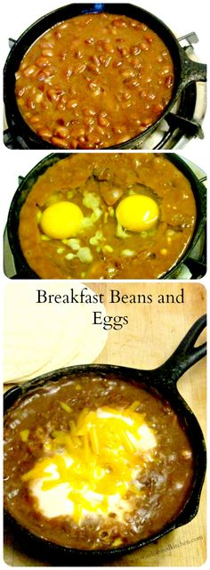 A quick, easy, and nutritious breakfast of beans and eggs, with perhaps a sprinkle of cheese, served over corn tortillas.