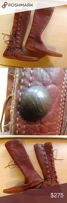 21dd79506af940 HALF PENNY BUFFALO LEATHER RENAISSANCE MOCCASINS Previously owned. 1967  half penny. Handmade. SIZE