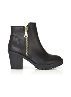 Black faux leather ankle boots with black cleated sole, gold trim detail and an inside zip. Shoe Boots, Ankle Boots, Miss Selfridge, Cleats, Asos, Booty, Clothes, Shopping, Collection