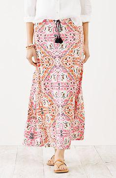 knit maxi skirt (watermelon persian tapestry print)