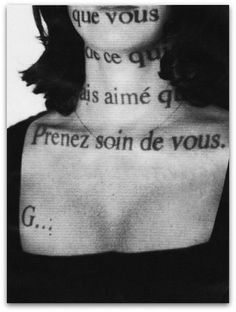 """Sophie Calle • Prenez Soin de Vous, """"Take care of yourself"""", the last line of an e-mail a former lover of Calle sent her, thus ending the relationship. Calle forwarded this message to 107 other women, including a psychiatrist, a composer and a schoolgirl, and asked them to interpret it. The various responses were then curated into an installation."""