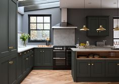 Buy Allestree Beaded Bespoke Painted Kitchen In Slate Grey online from Lark & Larks: the leading Kitchen & Bedroom Unit & Doors specialist. Grey Shaker Kitchen, Slate Kitchen, Open Plan Kitchen, New Kitchen, Dark Green Kitchen, Grey Painted Kitchen, Painted Slate, Style Shaker, Shaker Style Kitchens