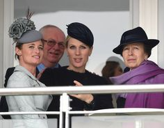 Princess Anne and Zara Phillips, wearing Rosie Olivia millinery, attends day 2, Ladies Day, of the Cheltenham Festival on March 16, 2016 in Cheltenham, England.