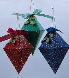 Ruby, Sapphire & Emerald Paper Pumpkin Ornaments by Diana Gibson - Cards and Paper Crafts at Splitcoaststampers Handmade Christmas Crafts, Christmas Paper Crafts, Stampin Up Christmas, Christmas Ideas, Pumpkin Cards, Paper Pumpkin, Paper Ornaments, Christmas Tree Ornaments, Scrapbooking