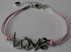 Armband #love roze #Handgemaakt door Antiro.nl