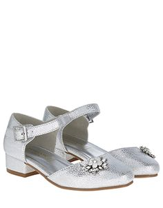 With their crackled metallic finish and dazzling brooch details, our two-part jive shoes for girls are ready to shine at special occasions. They feature a l. Flower Girl Shoes, Girls Shoes, Flower Brooch, Special Occasion, Cute Outfits, Metallic, Bridesmaid, Sandals, Fashion
