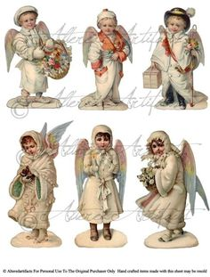 Instant Download Snow Angels Shabby Chic White Christmas Altered Art Digital Collage Sheet