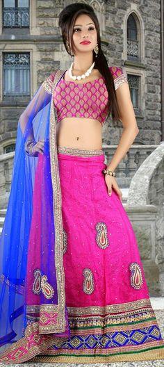 147914, Mehendi & Sangeet Lehenga, Net, Machine Embroidery, Sequence, Moti, Patch, Zari, Border, Pink and Majenta Color Family