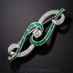 Art Deco Diamond and Emerald Scroll Pin Estate Vintage Antique Jewelry