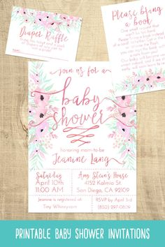 Soft pink flower baby shower invitations | flowers | florals | printable | girls baby shower
