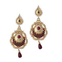 Maroon Gold Plated Austrian Diamond Earrings