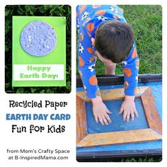 Kids Earth Day Recycled Paper Card Craft from Mom's Crafty Space at B-Inspired Mama