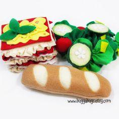 ITALIAN DINNER - Felt Food PDF Pattern (Lasagna, Spaghetti, Bread, Tiramisu, Salad, Candle). $6.00, via Etsy.