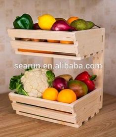 Fruit Basket Ideas Diy Display 29 Ideas For 2019 Vegetable Rack, Fruit And Vegetable Storage, Fruit Storage, Food Storage, Vegetable Basket, Veggie Tray, Diy Wood Projects, Wood Crafts, Woodworking Projects